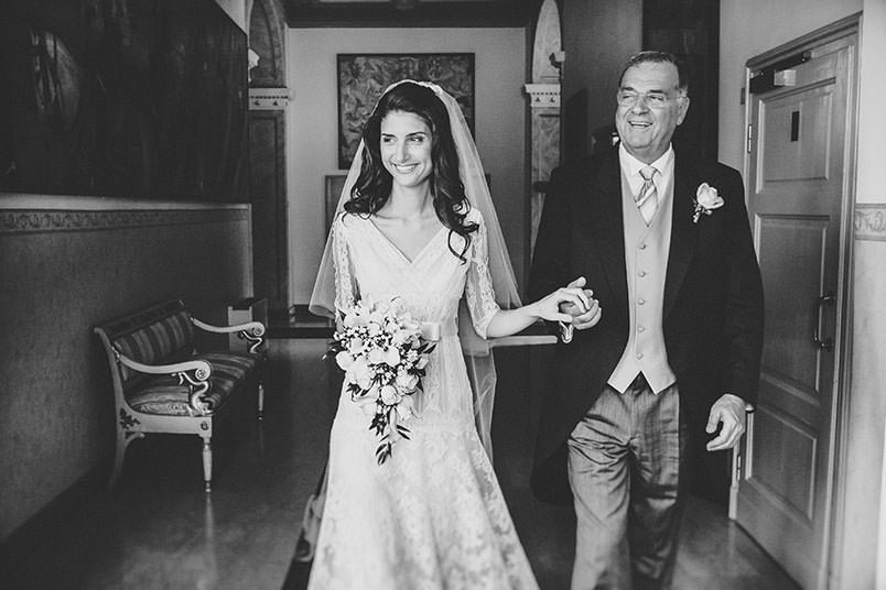 The bride with his father.