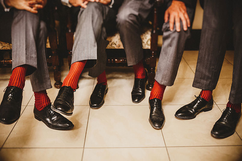 Wedding: red socks