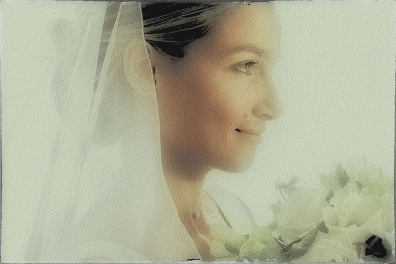 Fairy Tale Wedding Style: Polaroid emulation: portrait of the bride.