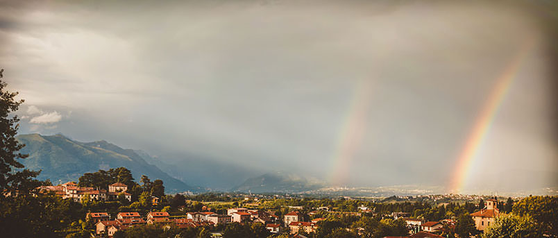 Landscape with double rainbow from the Lake Como area