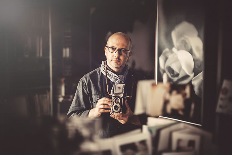 Luca Rajna in his atelier in the Lake Como area