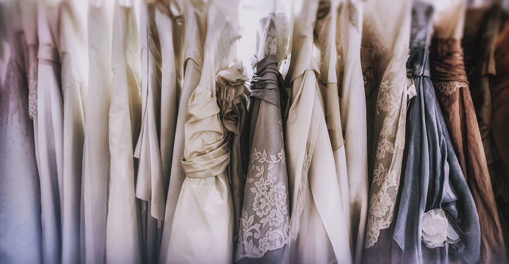 Wedding dresses in a atelier