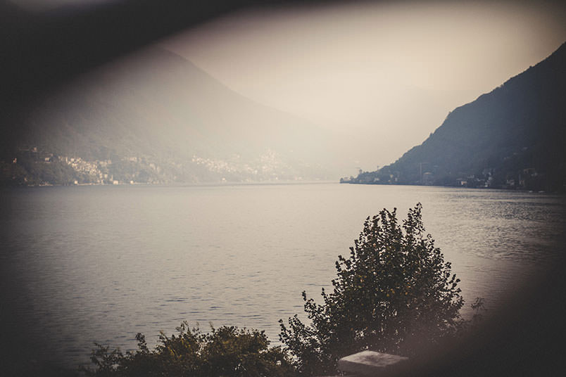 Personal photographer shooting on Lake Como, Italy. Black and white photo.