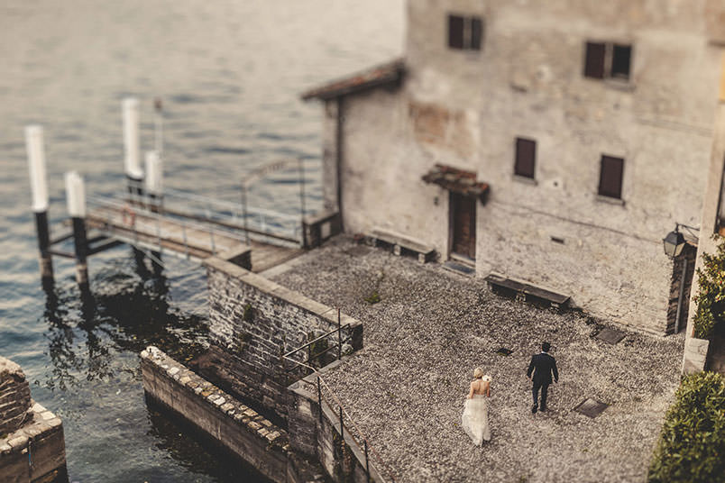 The bride and groom. Shooting on Lake Como, Italy
