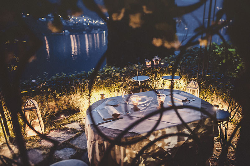 Intimate dinner for newlyweds on Lake Como, Italy.