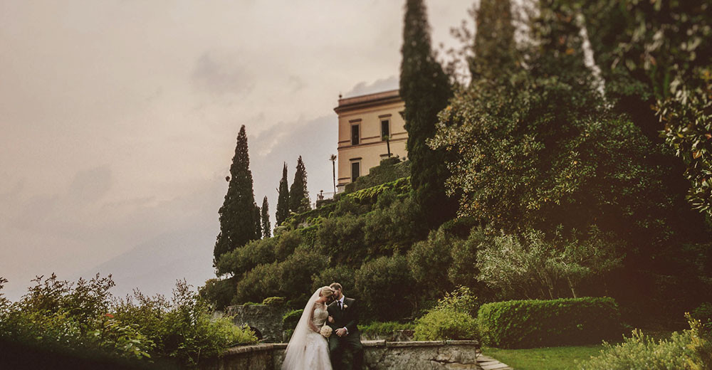 Newlyweds at Villa Cipressi, Lake Como, Italy