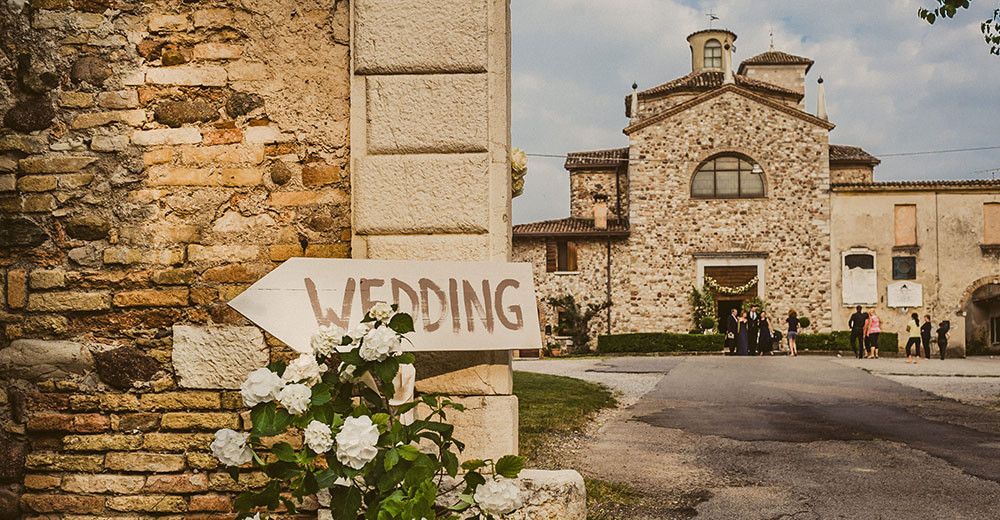 Wedding scene outside the church as published on Vogue Sposa