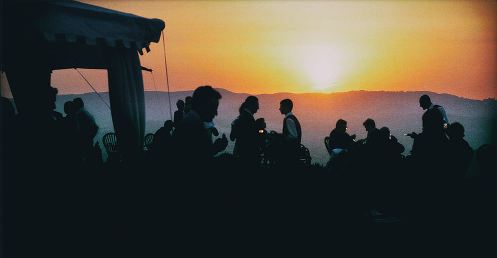 Outdoor wedding in Tuscany. Sunset.