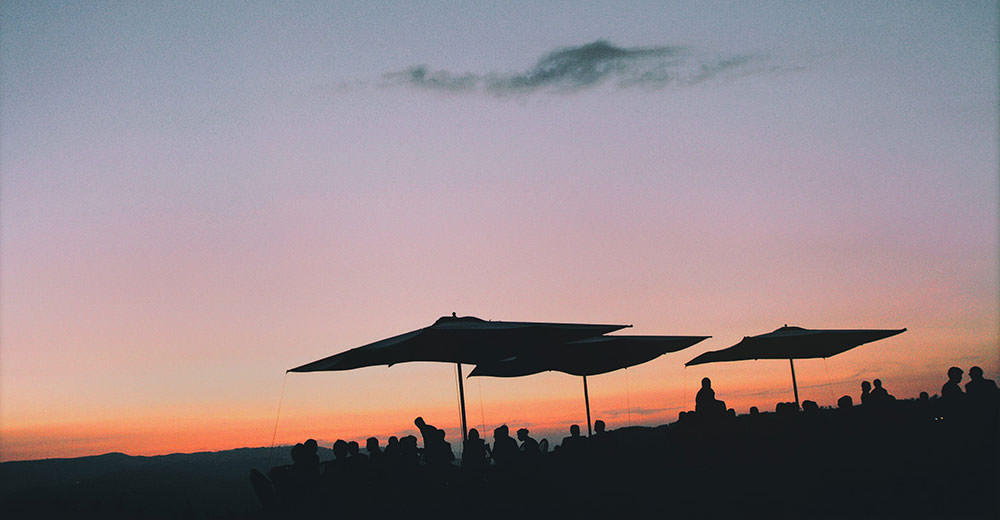 Outdoor wedding in tuscany. The sunset