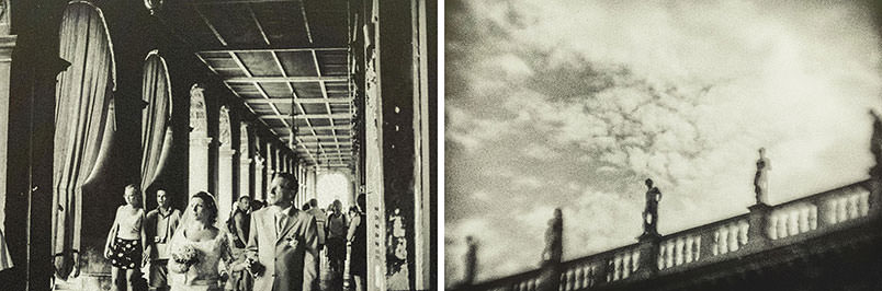 Venice: unconventional wedding photography. Diptych with a wedding scene.