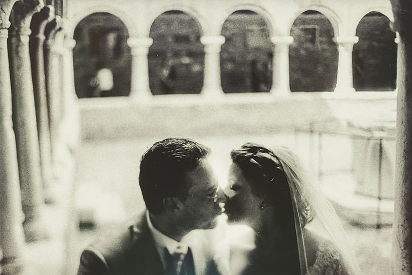"Venice: unconventional wedding photography. ""The kiss"". Bride and Groom kissing."