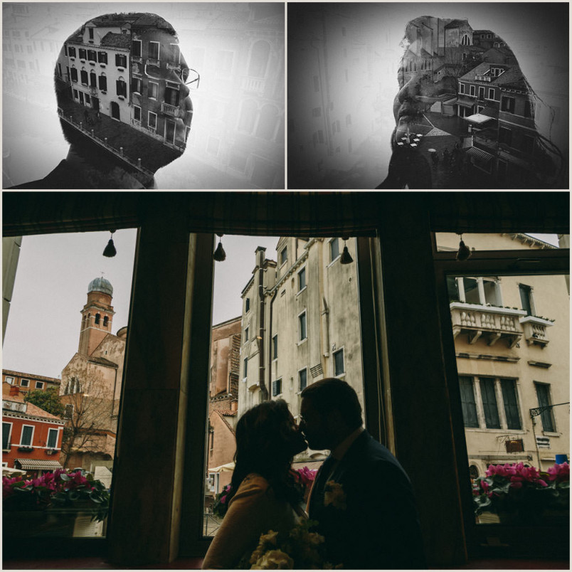 Venice, wedding: double exposures. VSCO.
