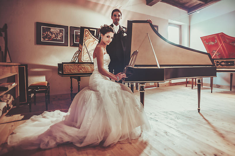 Bride and groom with their harpsichords