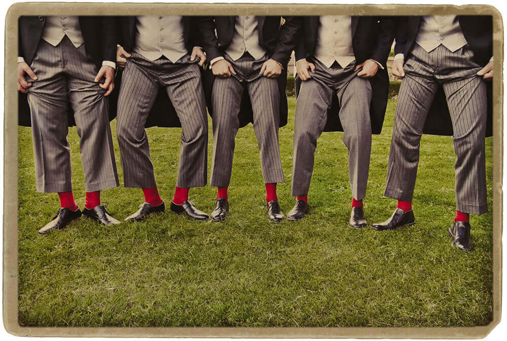 Wedding on Lake Como: red socks.