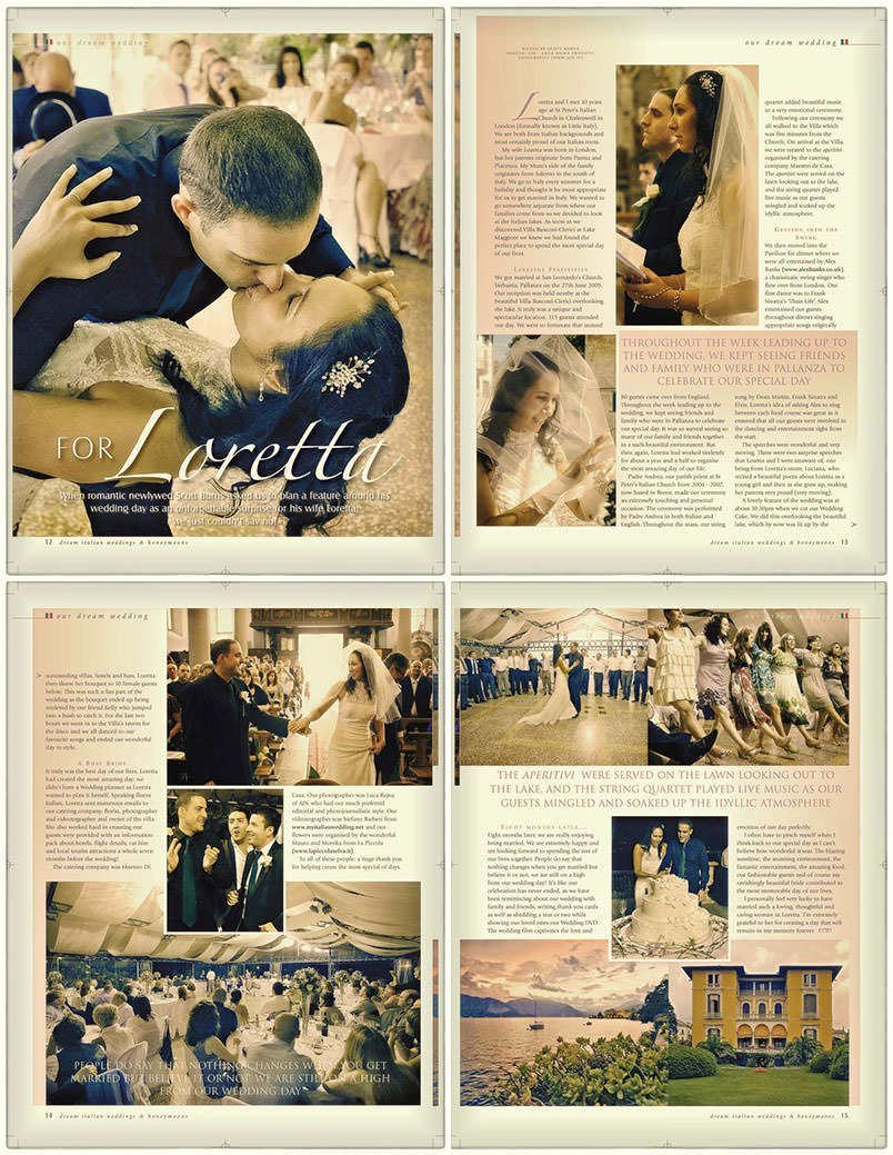 Wedding at Villa Rusconi Clerici, Verbania. Article on a magazine.