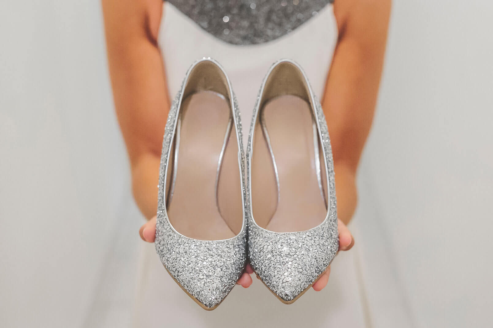 Bridal shoes, brilliant silver