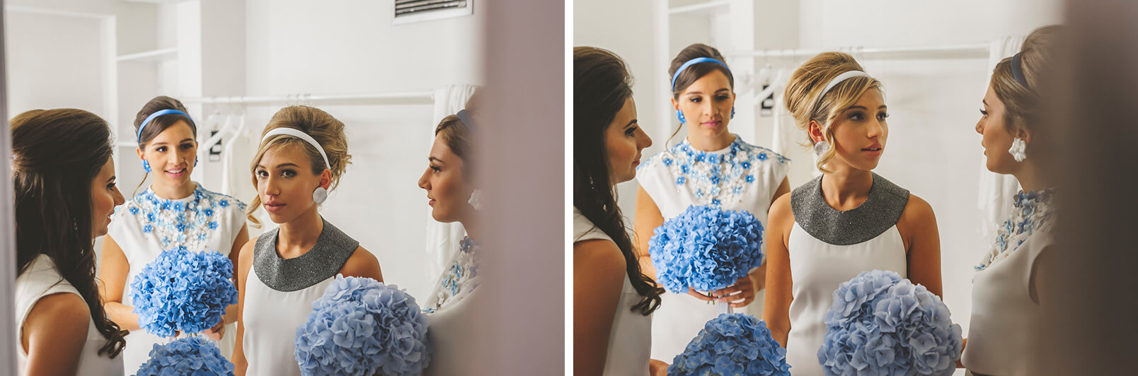 The bride and the bridesmaids: a true 1960s mood.