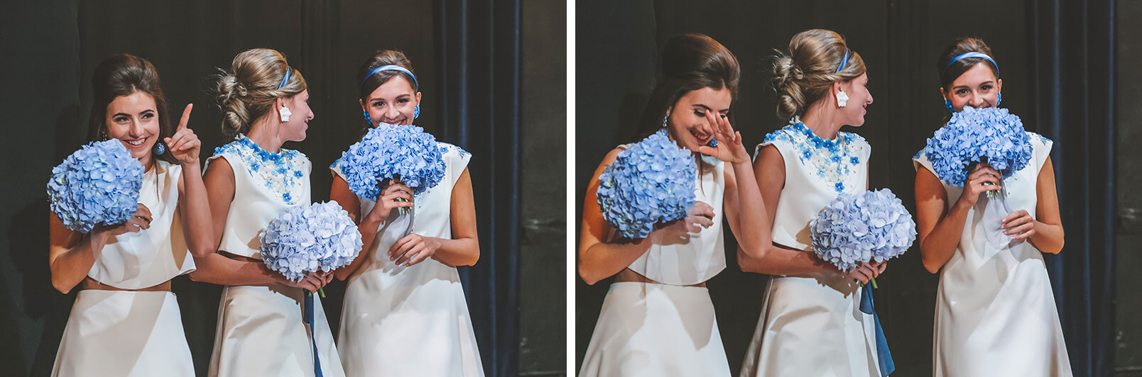 1960s mood Wedding ceremony. Bridesmaids laughing just after the first kiss.