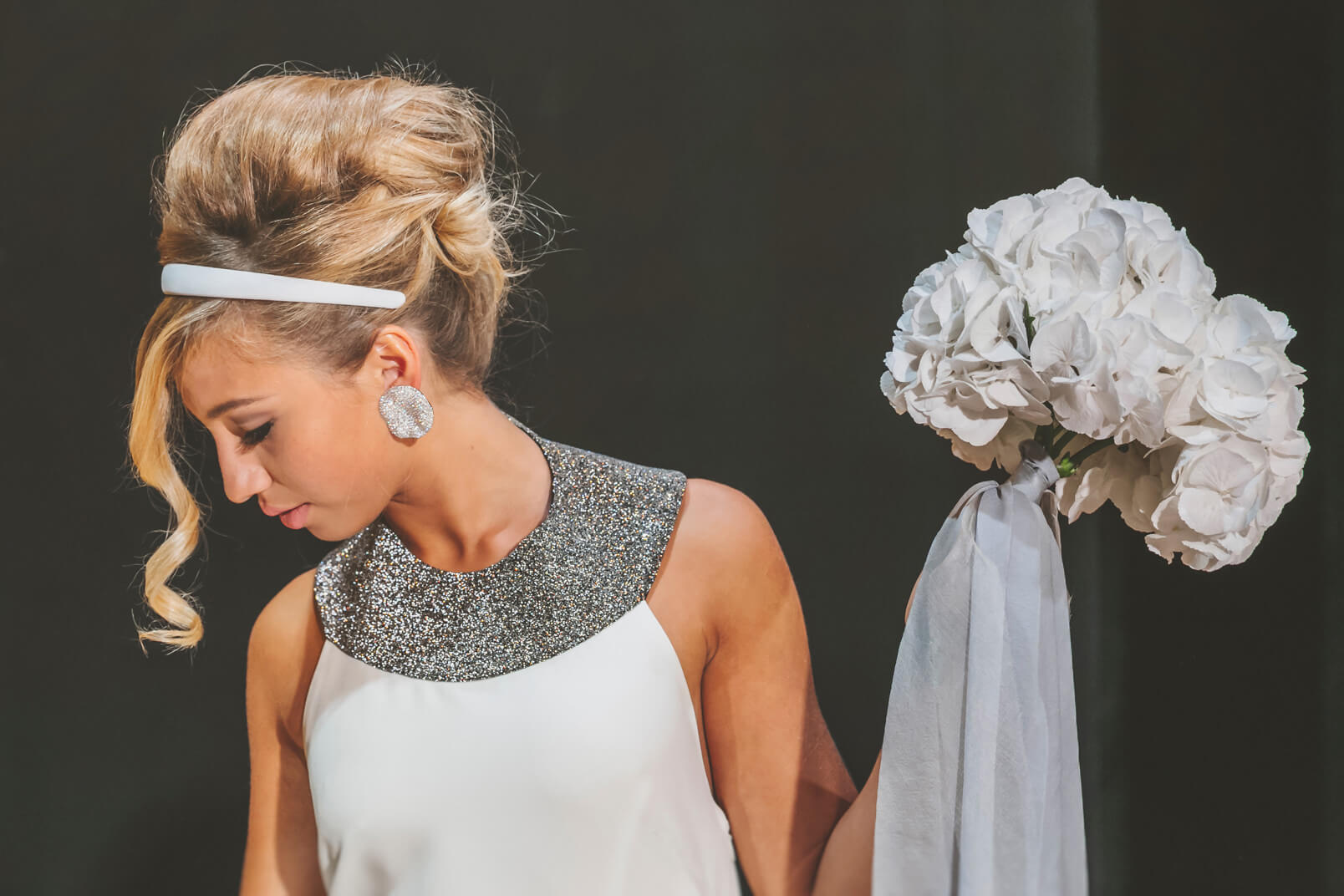 1960s wedding hairstyle from the bride.