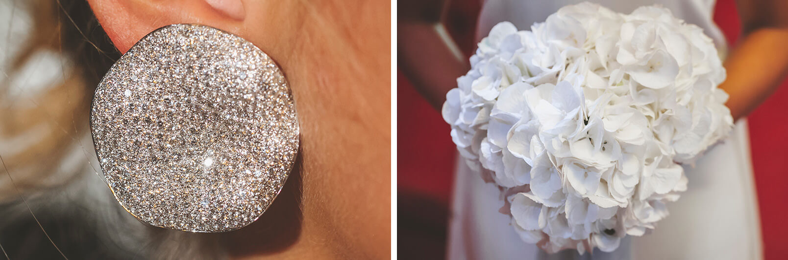 Details from the bride: earrings (high jewelry form Sabbadini, Milano) and the white bouquet (hortensia flowers).