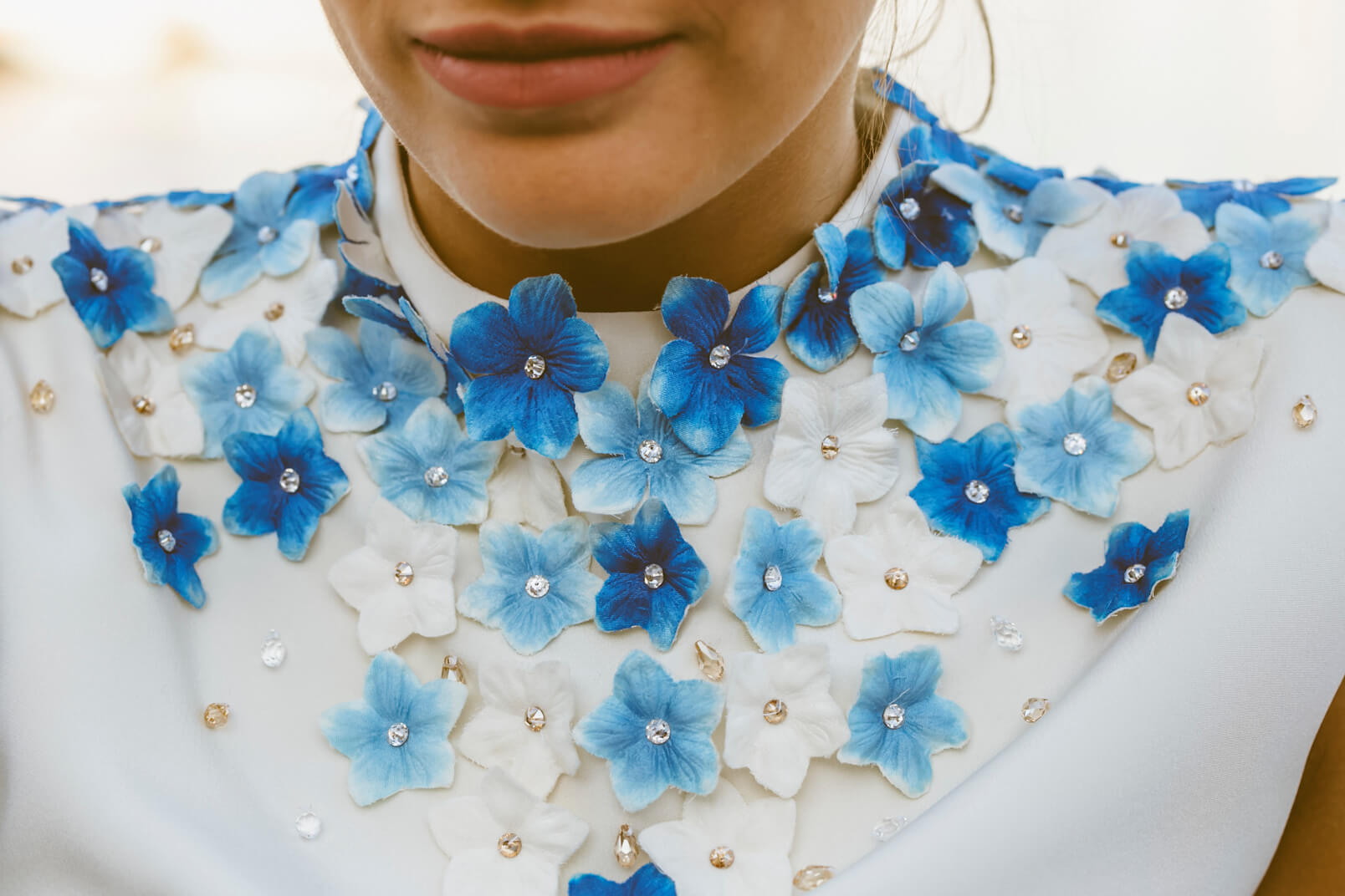 Detail of a bridesmaid's dress in 1960s style by Gretel Z.: the blue flowers