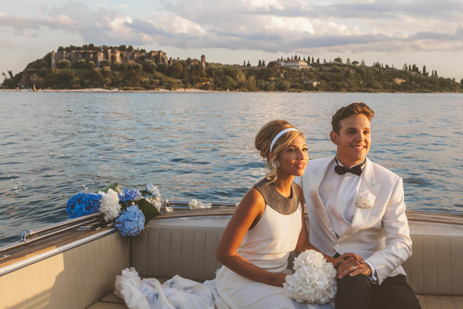 Bride and groom at the Grottoes of Catullus.