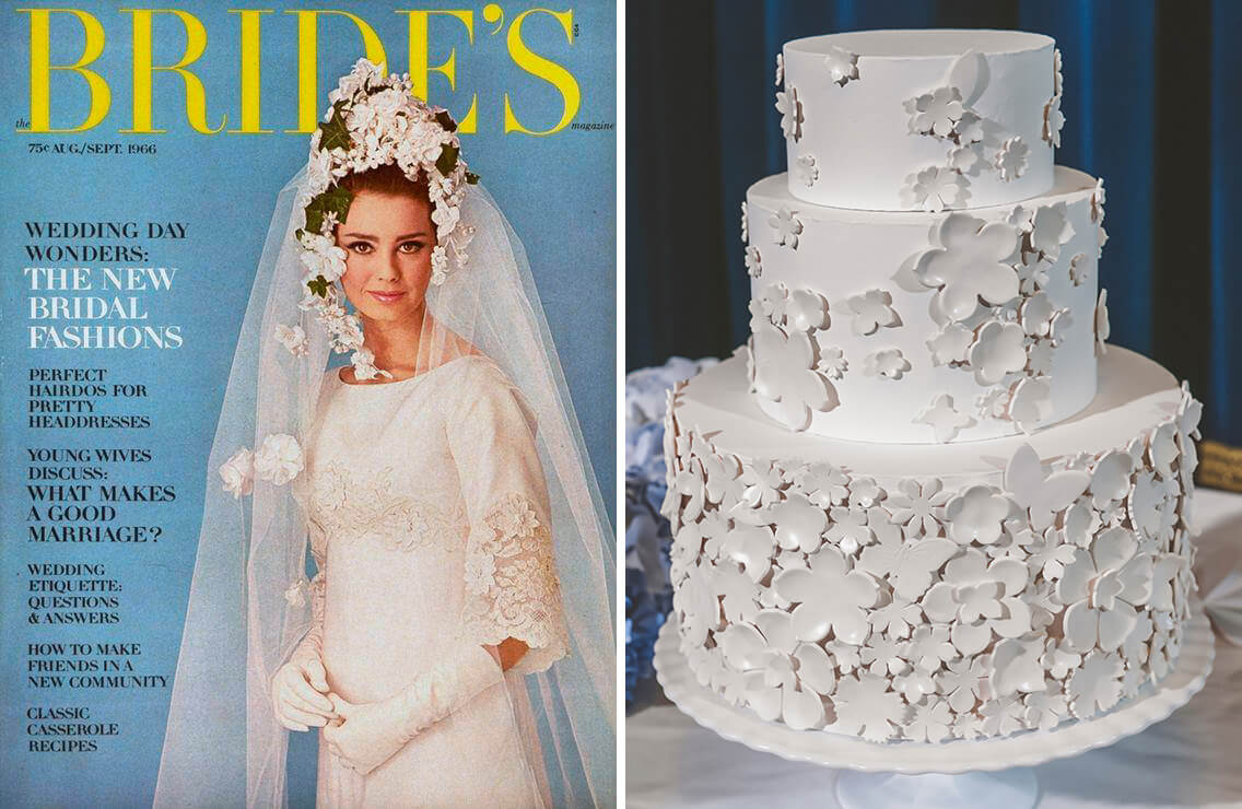 The decorations on the wedding cake are inspired by what is seen in a 1960s wedding magazine.