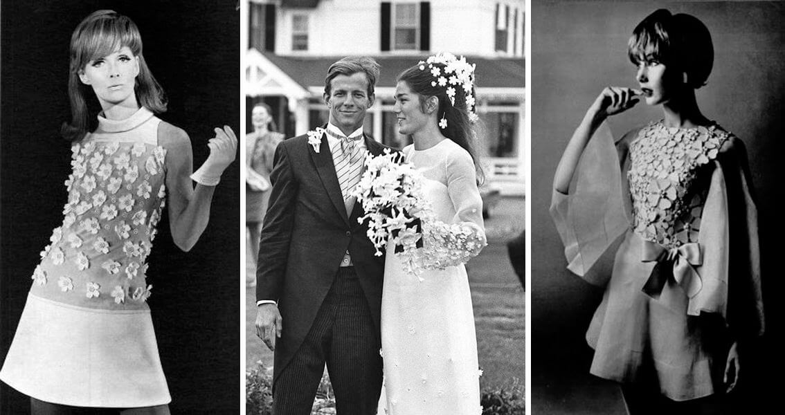 The bride, the groom and bridesmaids. Sample photos from original 1960s weddings.