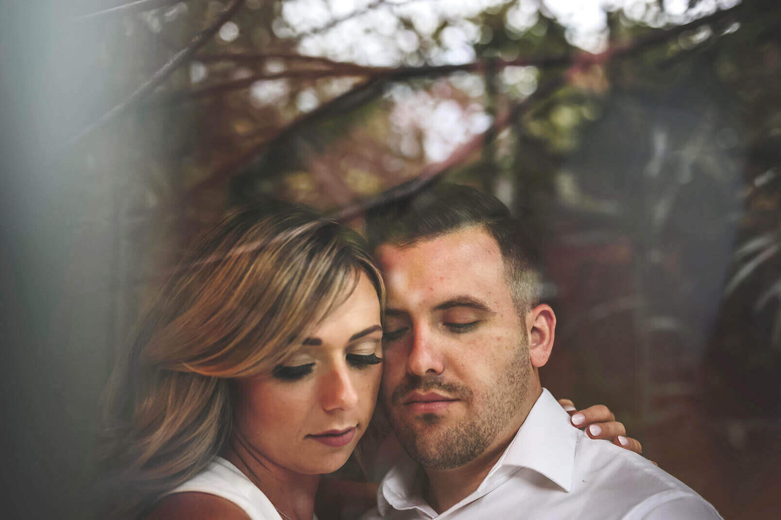 A portrait of a couple during their wedding photo shooting session.