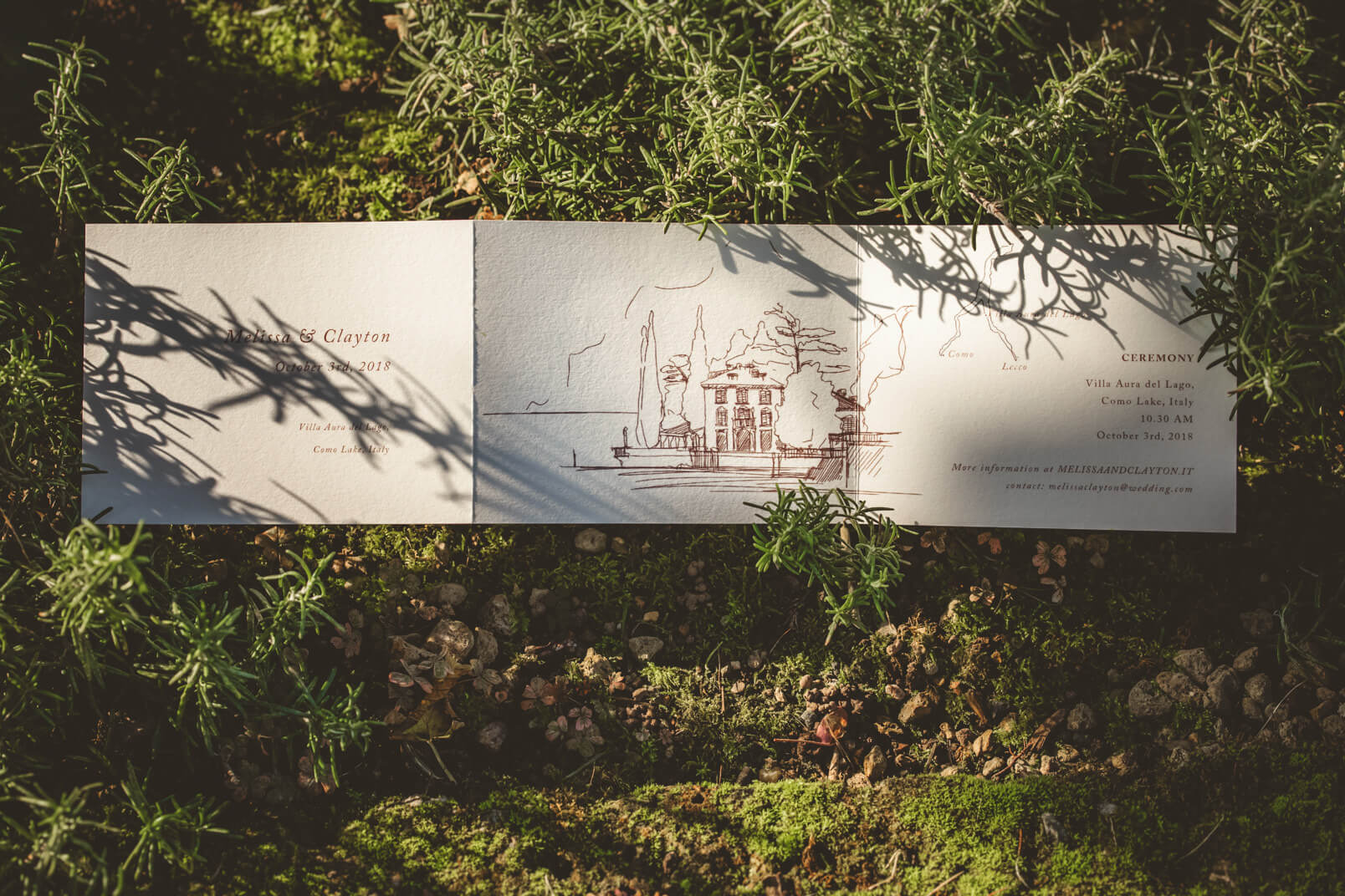 Wedding stationery about Villa Aura del Lago, Bellagio. Italy.